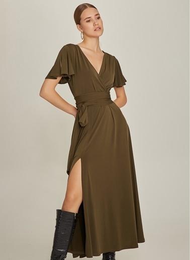 NGSTYLE Kemerli Uzun Elbise Haki